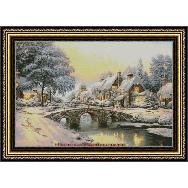 Зимний пейзаж с мостиком