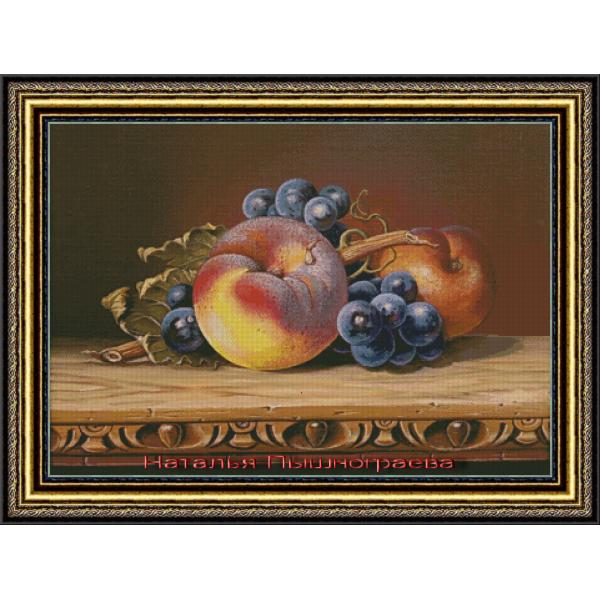 Натюрморт с персиком и виноградом 2